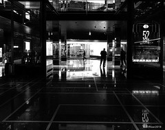 The Doorman (evanffitzer) Tags: bw lasvegas cosmopolitan blackandwhite mono silhouette shiny glass reflection indoors doorman lobby