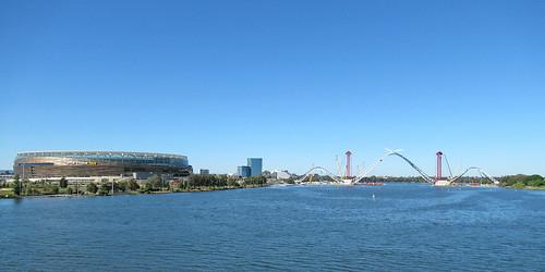 21 May 2018 - Panorama showing OPTUS Stadium & the MATAGARUP BRIDGE (dual-use cycle/pedestrian only) across the Swan River at Burswood, Perth, Western Australia