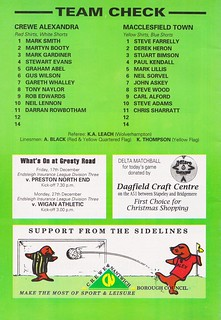 Crewe Alexandra vs Macclesfield Town - 1993 - Back Cover Page