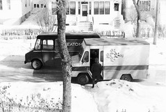 Eaton's & Hudson's Bay Delivery Trucks, 1974 (vintage.winnipeg) Tags: winnipeg manitoba canada vintage history historic eatons