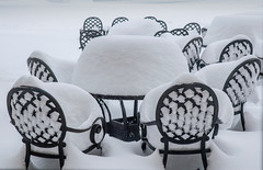 An April Afternoon at the Patio (T P Mann Photography) Tags: table patio snowfall record northern boyne boynefalls boyemountain michigan breezeway showers april winter deepsnow xanto snow