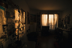 Silence. (theodirector) Tags: flat room studentflat sunrise orangelight window windows bedroom view curtains curtain early morning goodmorning chiaroscuro orange sunlight sunrising sunshine sunny reflet reflection light daylight newday morn dawn wall quiet calm goldenhour wideangle ultrawideangle home house myhome athome contrast shadow shadows