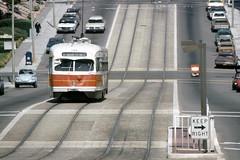 US CA San Francisco MUNI PCC 1166 5-17-1979 N 14th-Judah (David Pirmann) Tags: california sanfrancisco muni tram trolley streetcar transit railroad transportation pcc