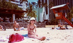 Waikiki beach 1979 015 (Tangled Bank) Tags: japan japanese asia asian old heritage vintage famil photos pictures photographs album film family scan scanned waikiki hawaii vacation young woman