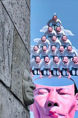 """岳敏君... """"Man suffers so deeply that he had to invent laughter. The unfortunate and melancholic animal is, of course, the most cheerful"""" Nietzsche... The power of the laughter... Yue Minjun.. Cynic Realism (bernawy hugues kossi huo) Tags: laughter laughing absurdity songzhuangvillage convention cultural social chinesemodernart nomadicexistence cynicalrealist yueminjun 岳敏君 suffering suffer deeply melancholic cheerful condemnation contemptuous invisible liberating laugh humour manner radical abstract painting chinese china france style minjun mask helmet work stone wall bridge river protocol universal adaptable logo sculpture identity silent smile symbolic opportunity profile face head"""
