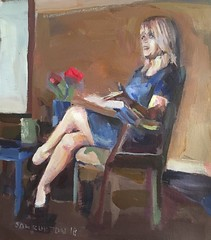 Woman sitting by the window (Captain Wakefield) Tags: reading figurative flowers room oil interior lady burton samuel acrylic art modern contemporary abstract expressionist impressionist woman painting people sit sitting seated