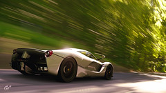 LaFerrari (at1503) Tags: ferrari supercar hypercar v12 speed motion blur trees forest wood road car sleek wheels brakelights sunlight shadows europe european italian laferrari silver green granturismo granturismosport digitalmotorsport digitalphotography motorsport game gaming racing ps4