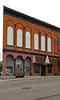 Rear Unit, Day Block — Columbus Grove, Ohio (Pythaglio) Tags: columbusgrove ohio putnamcounty brick day block building structure rear commercial 1883 storefronts altered remodeled segmentalarched recesses boarded cornice brackets corbelling corbelled street sidewalk put11712