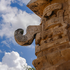 Hook (Adaptabilly) Tags: mexico yucatán sky square tree ruins travel mayan decoration mx archaeology chichenitza architecture shadow lumixgx7 clouds