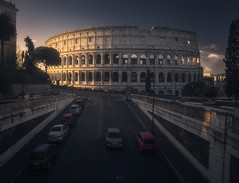 Imperial View (Fran4Life) Tags: colosseum italy rome roma italia colosseo architecture arches roman ancient ruins gladiator imperial eternal morning sunrise cars sunlight glow magic shadows