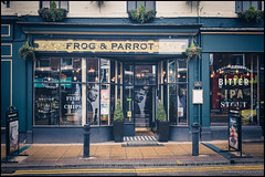 The Frog and Parrot (G. Postlethwaite esq.) Tags: divisionstreet frogandparrot fujix100t sheffield yorkshire boozer city door photoborder photowalk pub realale reflection sign wateringhole windows