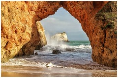 The Arch view (mickreynolds) Tags: algarve mediterranean portugal alvor sea arch green brown golden holiday