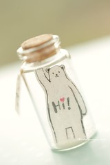 I found you,Tiny message in a bottle,Miniatures,Personalised Gift,funny love card,Valentine Card,Gift for her/him,Girlfriend gift, birthday card, message card and funny card ideas (charles fukuyama) Tags: illustration polebear whitebear lovebear paper bottle tiny miniaturescard glitter cuteanimals unique greetingcard holidaycard lovecard homedecor deskdecor kikuike