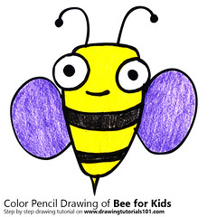 Bee for Kids (drawingtutorials101.com) Tags: bee for kids how draw color cartoon animals easy step by insects sketch sketches drawing drawings colors coloring pencil pencils speed