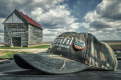 Hat's off for a Saturday! (David DeCamp) Tags: farm field hat barn building sky cloud topazimpression2