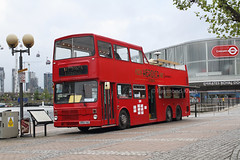 New pizza bus on the docks. (Rays Bus Photographs) Tags: heroicalounge mcwmetrobus d553yno dv471 opentop