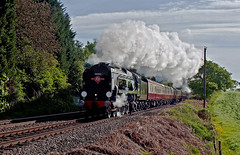 the climb  to whitchurch 1 (midcheshireman) Tags: steam train locomotive bulleid pacific 34046 34052 braunton lorddowding mainline cheshire