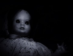 She watches when the lights are out; (Twila1313) Tags: doll creepy scary creepydoll monochrome night nightmare watching looking eyes evil devil frightening panasonicgf1