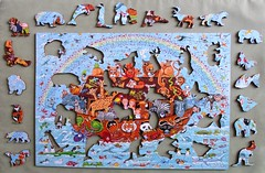 Noah's Ark, whimsies removed (pefkosmad) Tags: jigsaw puzzle hobby pastime leisure wentworth wooden whimsies figurals medite traditional wood complete used secondhand noahsark illustration painting peterbarrett