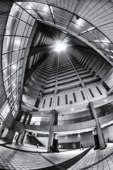 Air Rise Tower (B Lucava) Tags: tokyo ikebukuro airrisetower building architecture tower monochrome blackandwhite bw abstract fisheye atrium