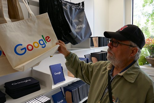Ali checks out some Google merchandise