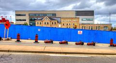 no trespassing (DeZ - photolores) Tags: downtown guelphcanada blue construction buildings architecture hdr nikon nikond610 nikkor nikkor1424mmf28 dez