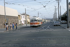 US CA San Francisco MUNI PCC 1101 6-1982 (David Pirmann) Tags: california sanfrancisco muni tram trolley streetcar transit railroad transportation pcc
