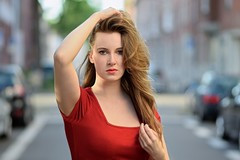 Lady in red (Kai Beinert) Tags: beauty female girl schönheit köln cologne porträt shooting model redlips nikon bokeh streetphotography street hair blonde blondine eyes posing red portrait bestportraitsaoi