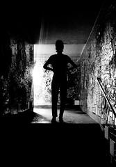 guardian (simone.pelatti) Tags: dark shadow black white contrast passage tunnel stairs siluette facing guardian