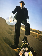 Floyd salesman, selling his soul (n.a.) Tags: pink floyd magritte suit hat briefcase face missing laser disc record art wish you were here album