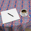 Inca Striped Patches (justmeewowydesign) Tags: justmeewowydesign spoonflowerfabrics sproutpatterns roostery roosterytablecloths tablecloths tablelinens tiedyepatterns tiedyetablecloth roundtablecloth inca incadesign incapattern stripepattern incastripedpatches patches blueorange
