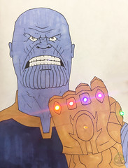 Light-Up Thanos Drawing (with actual LEDs!) (Captain Luigi) Tags: thanos marvel comics infinity war led light paper circuit ap physics
