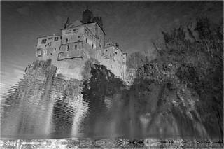 Kriebstein Castle . b&w .. 180°