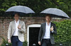 Prince William, Duke of Cambridge and Prince Harry are seen during a visit to The Sunken Garden at Kensington Palace on August 30, 2017 in London, England. (Photo by Kirsty Wigglesworth