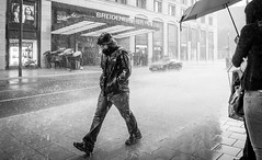 summertime germany (ThorstenKoch) Tags: summer rain street streetphotography schatten stadt strasse shadow schwarzweiss regen regenschirm umbrella heavyrain catsdogs germany pov photography people photographer picture pattern monochrome man thorstenkoch thursday art architecture super great awesome fuji fujifilm xt10