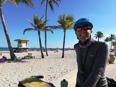 A rare smile from Andrew while cycling in Fort Lauderdale.