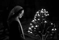 Church Service (ROSS HONG KONG) Tags: light lights service candle nun duomo florence italy candlelight religious worship devoted devotion black white blackandwhite bw leica m8 noctilux 095 50mm