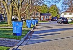 We Are A Progressive Neighbourhood (Sue90ca Few Days Of Sun Before More Rain) Tags: canon 6d neighbourhood garbageday progressive blue