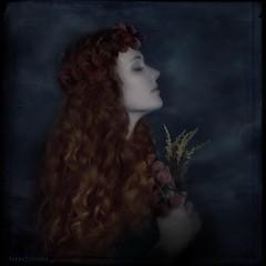 Gratitudes (WayneToTheMax) Tags: gratitude portrait woman lady maiden flower blue pray thankful joy silent meditate red head hair profile face