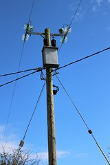 Tall and proud (JulieK (thanks for 8 million views)) Tags: htt telegraphtuesday carwindow telegraphpole bluesky insulators 2018onephotoeachday canoneos100d campile wexford ireland irish transformer