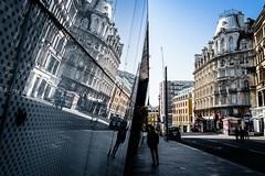 Inception (Sean Batten) Tags: london england unitedkingdom gb leicestersquare window glass reflection streetphotography street nikon d800 35mm city urban buildings person pavement