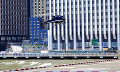 Helicopter landing at the heliport, Manhattan, New York City, USA. (Roly-sisaphus) Tags: nyc thebigapple unitedstatesofamerica