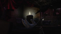 Raven's Candle (alexandriabrangwin) Tags: alexandriabrangwin secondlife 3d cgi computer graphics virtual world photography club satyr dark night crow raven sitting balance retort plastic rubber hand holding candle light lit glow warm spooky creepy tapestries statues curtains