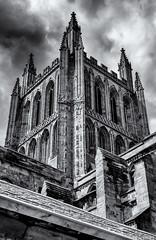 A solid tower (David Feuerhelm) Tags: blackandwhite monochrome bw noiretblanc schwarzundweiss contrast building tower church cathedral hereford ornate windows sky nikon d750 2470mmf28
