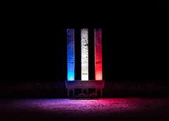 The Three Columns. (BadGunman) Tags: night sea columns column colonne colonnes les3colonnes troiscolonnes 3colonnes barcares pyrénéesorientales pyrenneesorientales france red white blue wwii soldiers volunteers memorial