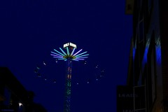 flying in the evening sky (jehazet) Tags: kermis funfair evening blue groningen meikermis zweefmolen carousel