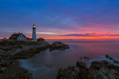 First Light - Portland (ProPeak Photography - Thanks for 600,000 views!) Tags: america architecture atlanticocean birds blue boat buildings cascobay clouds coast famousplace fisherman green gulfofmaine horizon iconic internationallandmark lighthouse maine nationalregisterofhistoricplaces nature newengland northamerica ocean orange portland portlandheadlighthouse purple red rocks seascape shoreline spring sunrise touristattraction traveldestination travelandtourism usa unitedstates water waves yellow