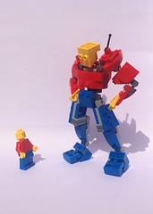 Mecha Bob (Kingmarshy) Tags: lego system mech mecha bob figure mini minifig giant big large robot red blue yellow poseable pilot upscale enlarged thicc moc