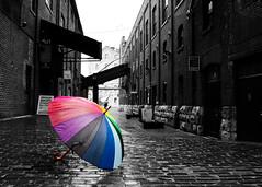 Rainbow Umbrella 3 (Rackelh) Tags: umbrella rainbow colour blackwhite conceptual architecture toronto canada