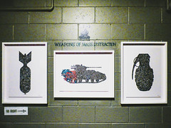 Weapons of Mass Distraction (Steve Taylor (Photography)) Tags: weaponsofmassdistraction weaponsofmassdestruction bomb tank flowers grenade shady shadycollective goright arrow art graffiti picture streetart symbol pipe stencil blue black red green white block newzealand nz southisland canterbury christchurch ymca spectrum